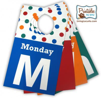 Printable Days of the Week Closet Tags are a simple way to get organized for school and help kids get dressed on their own in the mornings!