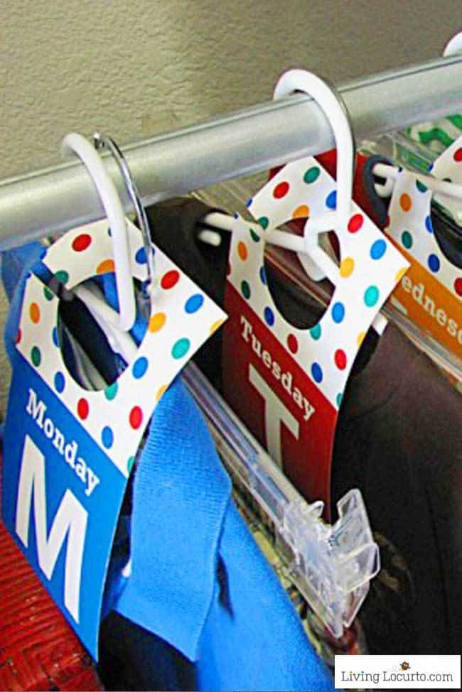 Printable Days of the Week Closet Tags are a simple way to get organized for back to school and help kids get dressed on their own in the mornings!