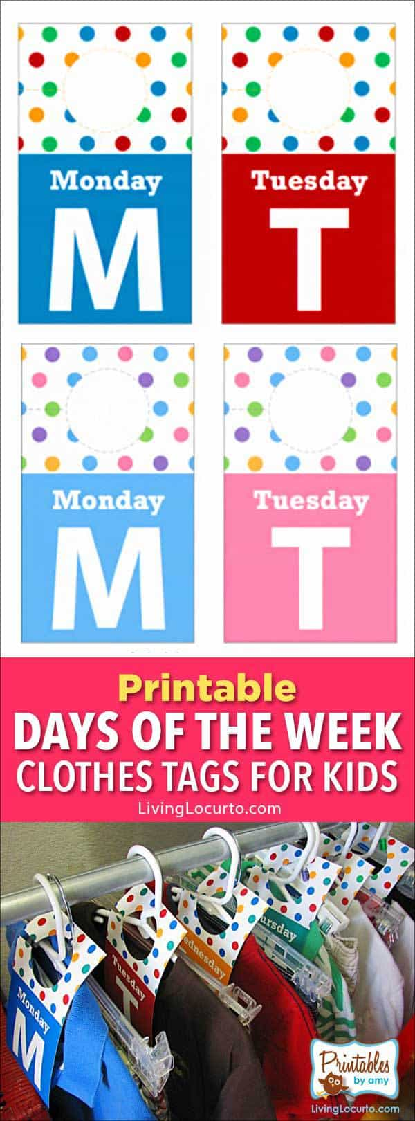 Days of the week closet tags to get kids organized for back to school.