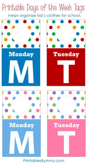 Printable Days of the Week Closet Tags are a simple way to get organized for back to school and help kids get dressed on their own in the mornings! Print in primary colors or pastels. #organization #printables #kids #backtoschool #livinglocurto