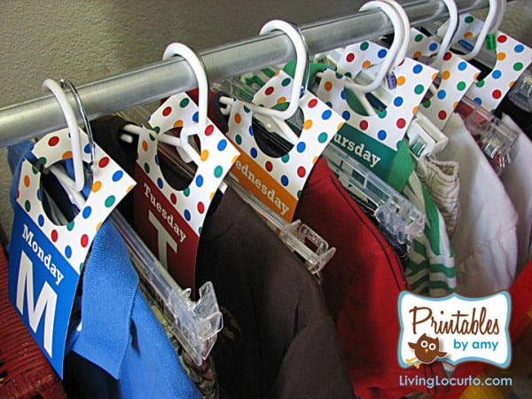 Get organized for school with cute tags to help kids get dressed in the morning! LivingLocurto.com