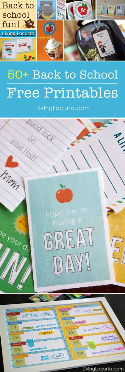Over 50 Amazing Free Printables for School! Get ready for school with the BEST Back to School Free Printable downloads for kids and moms. Teacher gift ideas, lunch box notes, labels, calendars, bookmarks and more!