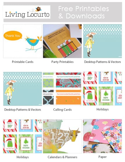 Great Resource for Free Printables & Downloads |  LivingLocurto.com | Free Party Printables | Holiday