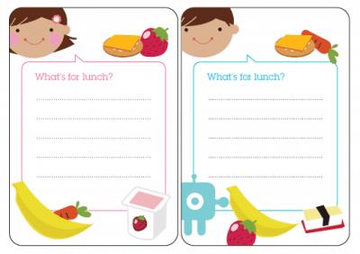 Cute Free Printable lunch box menus. Back to School Free Printables