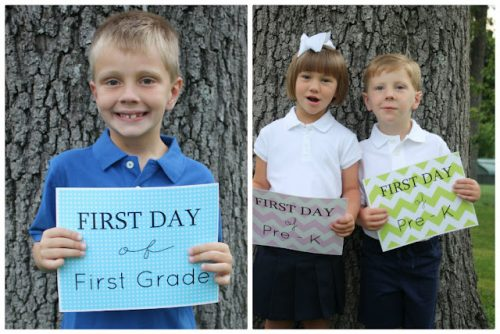 First Day of School Photo Free Printable Signs