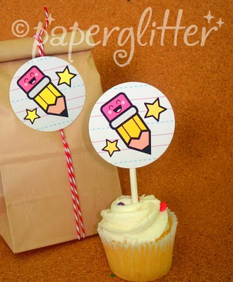 Happy Pencil Tags. Cute for cupcake toppers or lunch box notes. Back to School Free Printables