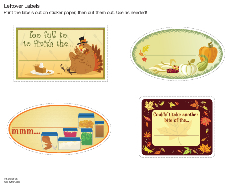 Thanksgiving Planner and Leftover Labels