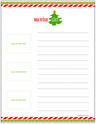 Free Printable Christmas Wish Lists for Kids.  LivingLocurto.com