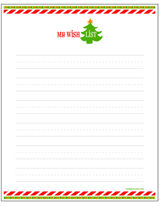 Holiday Christmas Gift Wish List Free Printable. Kids Activity Sheet.  LivingLocurto.com