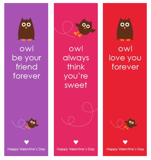 Cute Valentines Day Free Printables for kids! Owl Bookmarks Valentine Free Printable by Amy Locurto