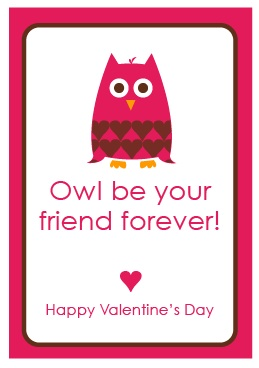 cute valentines day free printables for kids owl valentine card free printable by amy locurto - Cute Valentines Day Sayings For Friends