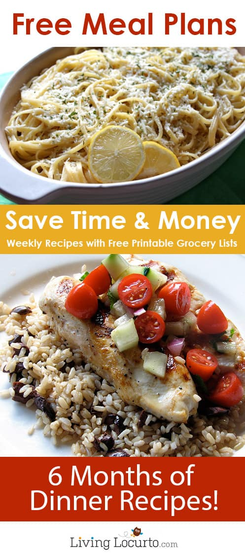 Money Saving  Free Meal Plans Recipe Ideas  Grocery Lists