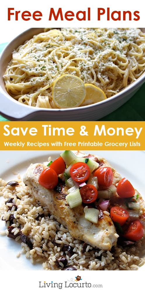 Free Money Saving Weekly Meal Plans.  Printable Food Plan with family recipes & a grocery List.  #recipe #mealplan #dinner