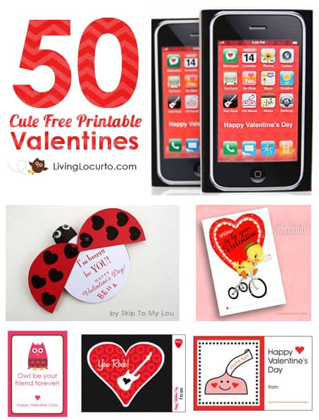 Over 50 CUTE Free Printables for Valentine's Day! An amazing list of FREE Printable Designs for Valentines Day on Living Locurto. Party Ideas, Cards, Coloring Sheets, Classroom Gifts, Teacher gifts and more! LivingLocurto.com