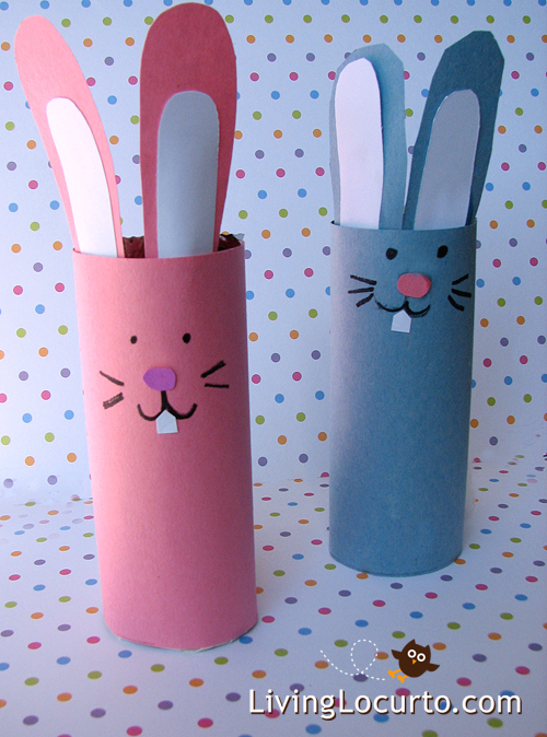 DIY Easter Bunny Candy Holder Craft. Perfect toilet paper roll craft to make with kids!  LivingLocurto.com