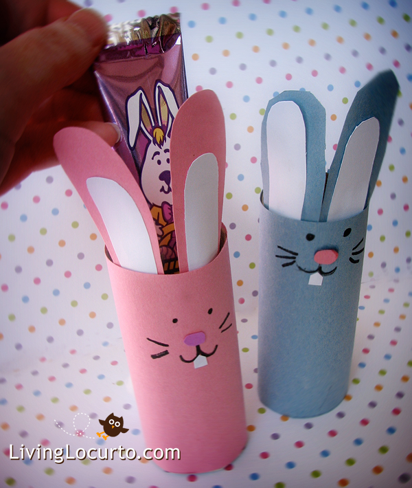 DIY Easter Bunny Candy Holder Craft. Perfect to make with kids!  LivingLocurto.com
