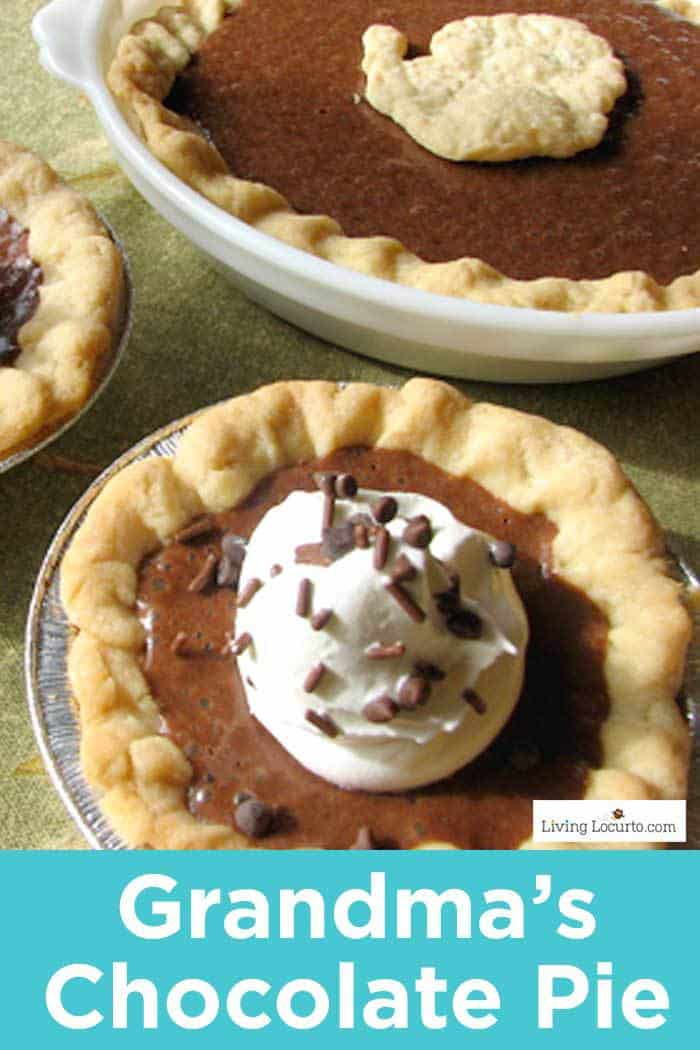 Grandma's Chocolate Pie recipe. With only 5 ingredients, this rich chocolate pie recipe is a quick and easy dessert.
