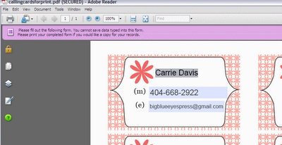 Free Personalized Calling Cards