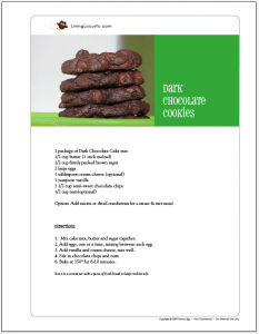 Dark Chocolate Chip Cookies Free Printable Recipe