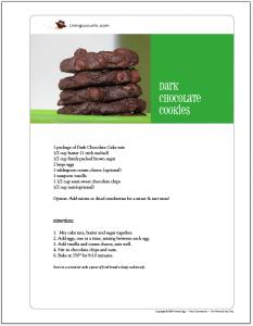 Dark Chocolate Chip Cookies Free Printable Recipe