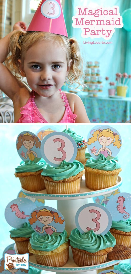 Cute Mermaid Birthday Party Ideas, Printables, Scrapbook Supplies by Amy Locurto LivingLocurto.com