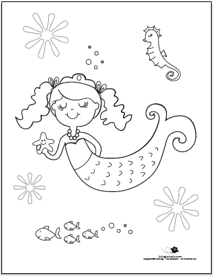 Mermaid Color Sheet