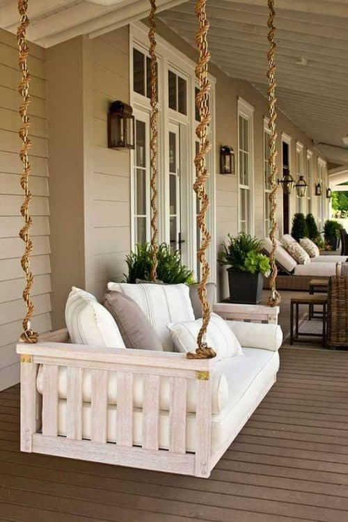 Elegant Beautiful Hanging Swinging Porch Bed. Love The Rope Design!