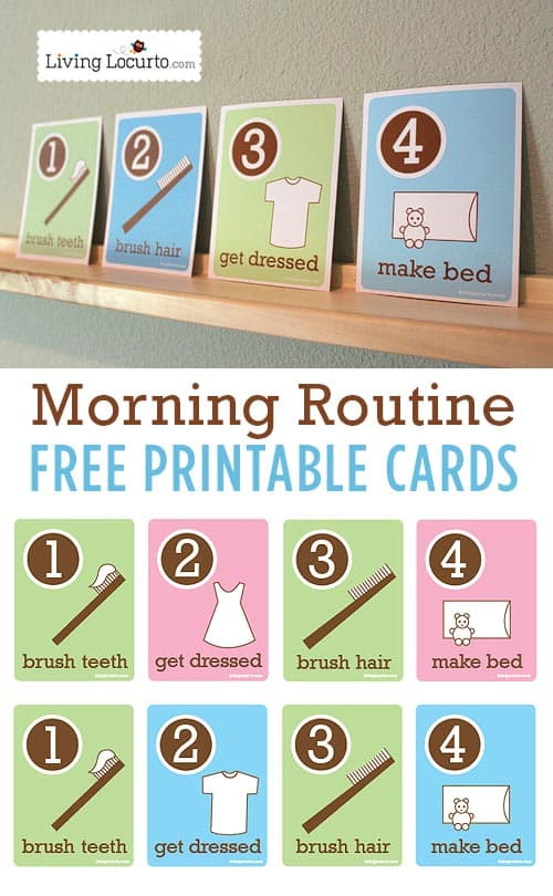 Morning Routine Flash Cards are fun free printable cards to help kids get ready for school in the morning. Simple visuals to help kids be more responsible at home. By LivingLocurto.com