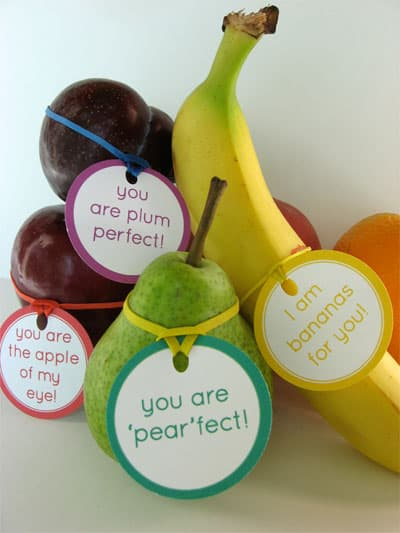 Lunch box notes, tags and stickers for fruit. 50 of the best Back to School Free Printables