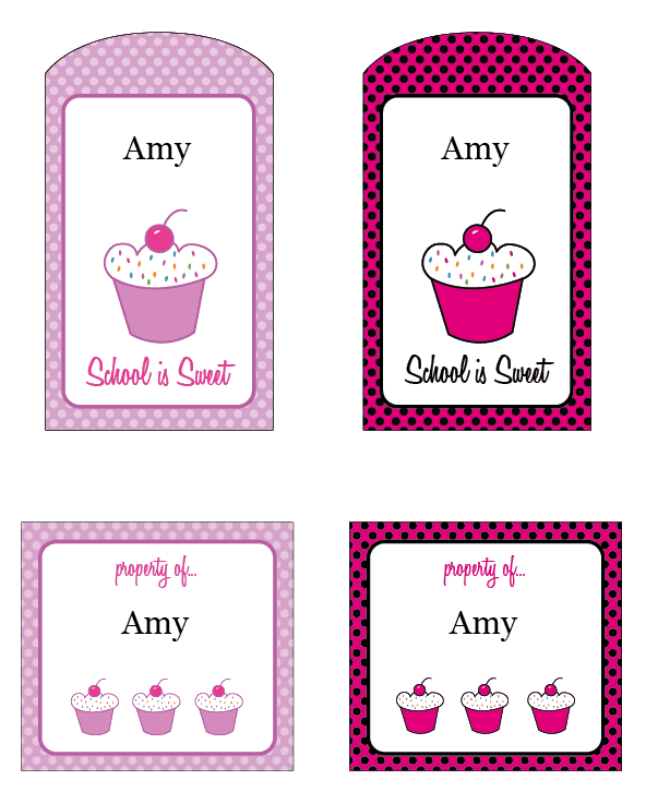 School Is Sweet Free Printable Cupcake Tags - Cupcake name tag template