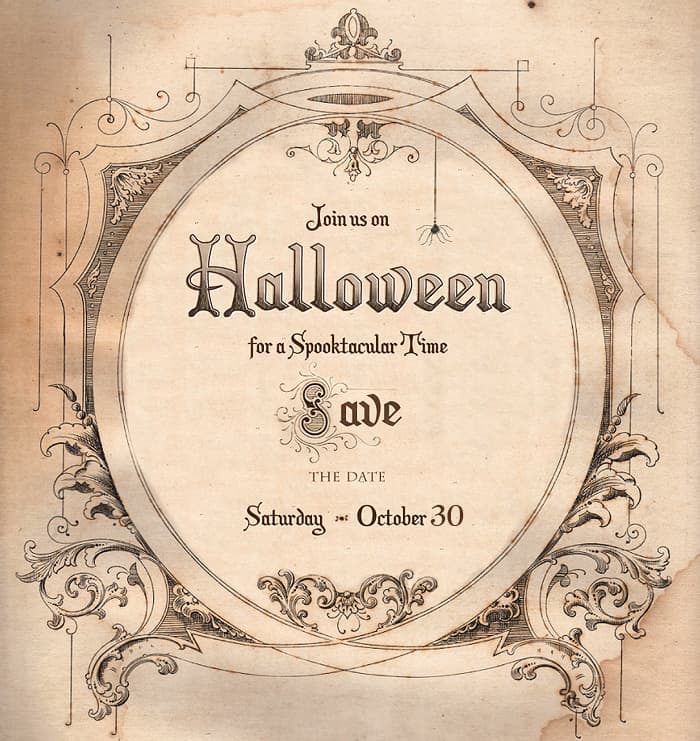 Save the date for halloween free download living locurto for Vintage save the date templates free