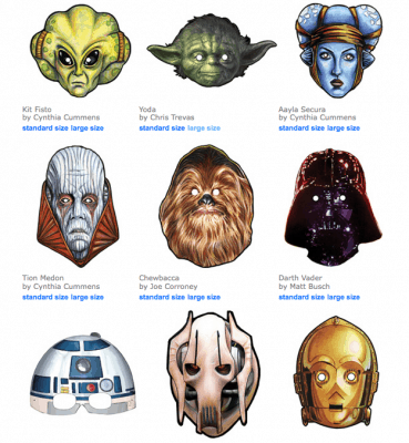 Click on the images to download and print these cool masks for some DIY fun!