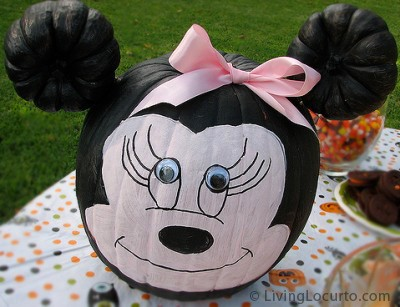 Minnie Mouse Halloween Painted Pumpkin by Amy Locurto at LivingLocurto.com