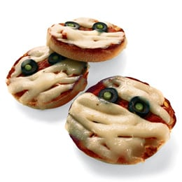 Free Meal Plan - Halloween Kid Friendly Recipes - Mini Mummy Pizzas