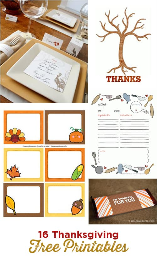 16 Thanksgiving DIY Free Party Printable Designs.