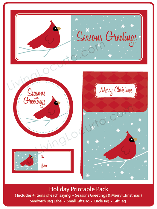 Cardinal Holiday Party Printable Gift Bag & Tags