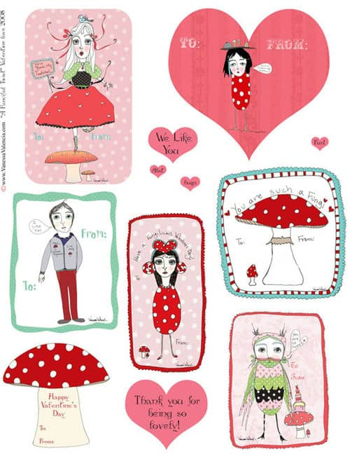 Free Printable Valentines by A Fanciful Twist