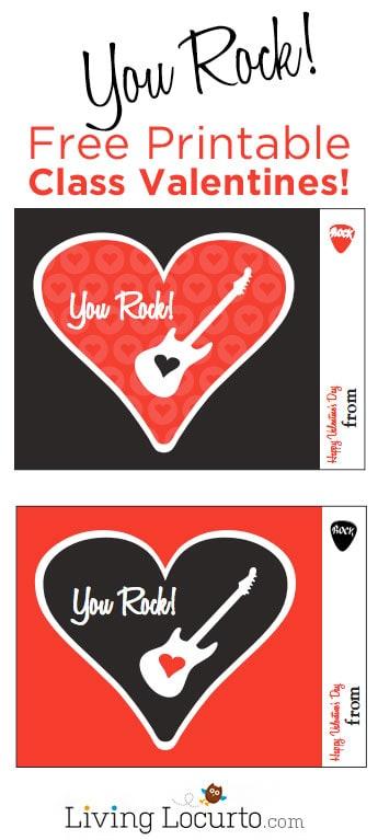 You Rock! Free Printable Classroom Valentines. LivingLocurto.com