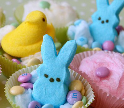 Cotton Candy Easter Peeps Cupcakes