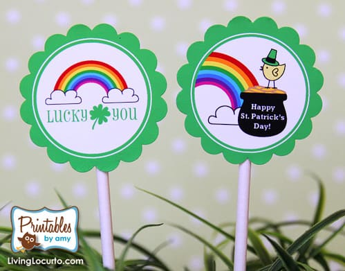 St. Patricks Day Free Party Printable Rainbow Tags for Cupcakes. LivingLocurto.com