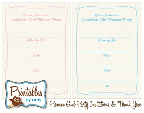 american girl pioneer party free printable invitation