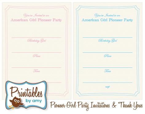 Free Printables - American Girl Pioneer Party Invitations