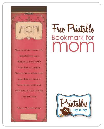 image about Printable Bookmark titled Moms Working day Bookmark Absolutely free Printables