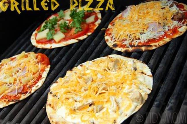 Grilled Pizza Recipe. How to make thin and crispy low fat grilled pizza with flour tortillas! A great summer recipe idea for a barbecue and outdoor party.
