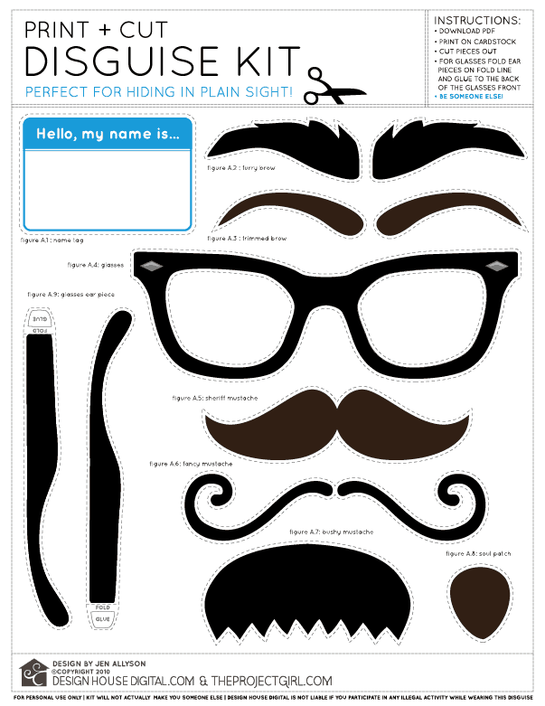 Disguise Kit Free Printable