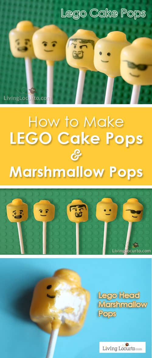 How to make DIY Lego Cake Pops and Lego Marshmallow Pops. Easy Recipe idea for a LEGO Birthday Party. Kids will love these edible minifigures.