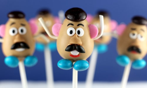 Toy Story Party Ideas - Mr. Potato Head Cake Pops