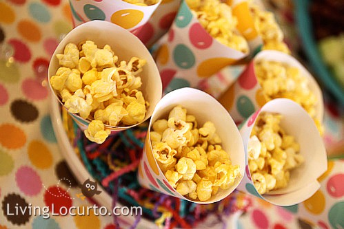 Popcorn Cones  & Bubble Birthday Party Ideas by Amy Locurto at LivingLocurto.com