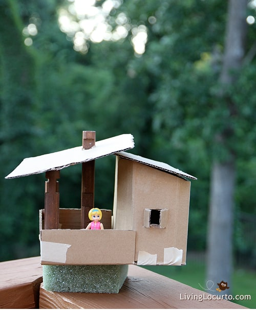 Cardboard Playhouse Tree House Kids Craft