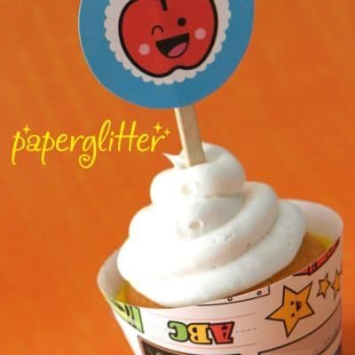 Back to School Free Printable Cupcake Topper and Wrapper